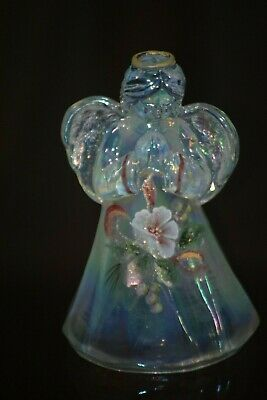 Fenton Art Glass Clear Opalescent Angel Hand Painted Christmas Flowers • 32.25£