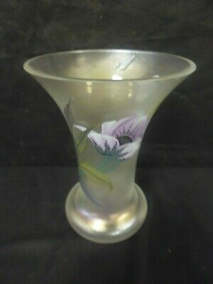 Vintage Erwin Eisch Opalescent Flowers & Insects Vase - Tall Fluted 7   (cha) • 17.99£