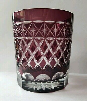Vintage Bohemian Amethyst Glass Cut To Clear Water / Whiskey Tumbler • 40£