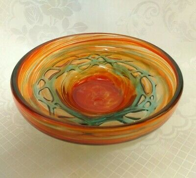 Mdina Bowl In Amber With Green Ribbon Trails • 32£