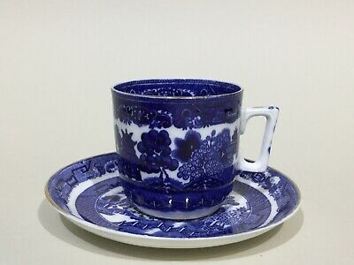 Staffordshire Bone China Blue & White Willow Pattern Tea Cup & Saucer • 6.95£