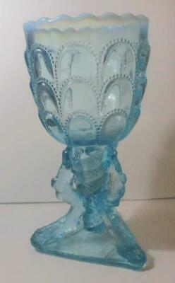 Pattern Glass Stem Goblet Beautiful Blue, Opaque Top Rim • 15.27£