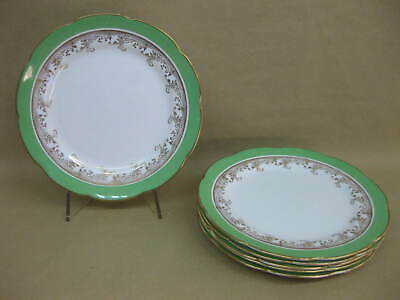 6 Vintage Collingwoods China Tea Plates ~ Green Gold White ~ English Bone China • 16.99£