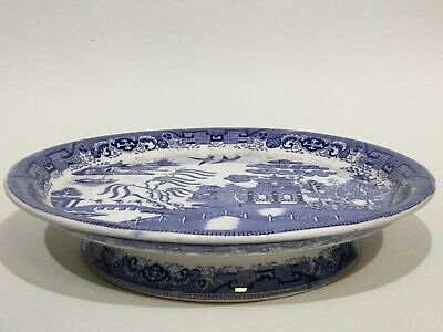 Vintage Blue & White China Willow Pattern Comport / Cake Stand • 49.50£
