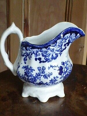 Beautiful Antique Flow Blue Jug, C1880. • 17£
