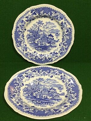 Blue & White China Seaforth 2 X Dessert Plates • 7.95£