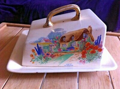 Falcon Ware England Cheese Dish ~ 'A Bit Of Old England' Pattern ~ As Found • 2.50£