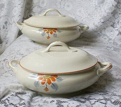 Two Vintage Tureens & Covers Orange Hand Painted Flower No Maker  • 12£