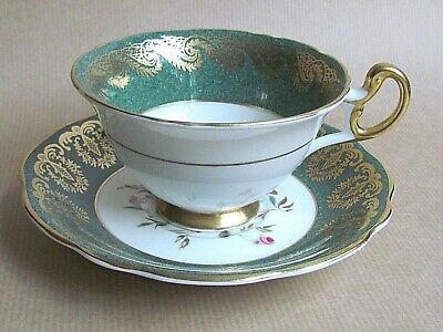 FOLEY E. BRAIN 4396S PATTERN FOOTED GREEN/GILT & FLORAL CUP & SAUCER  (Ref5345) • 17.50£