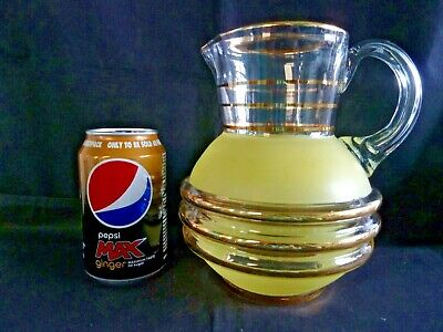 Gorgeous Art Deco Frosted Yellow Gilded Glass Water Lemonade Jug  • 14.50£