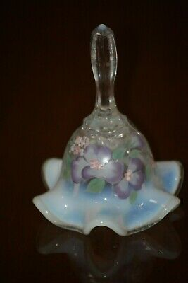 Fenton French Opalescent Bell With Hp Pansies • 20.68£