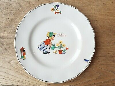 Vintage Wendy Watering Cream Petal Grindley England Plate Saucer. Good Condition • 22£