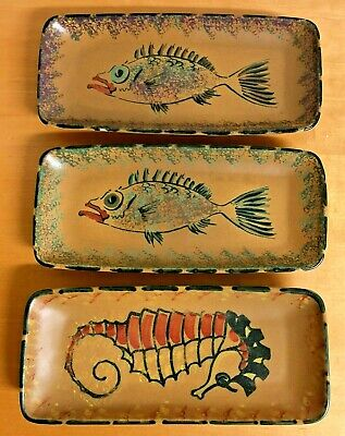 Honiton Dish Trays With Fish And Seahorse Design Set Of 3 • 30£