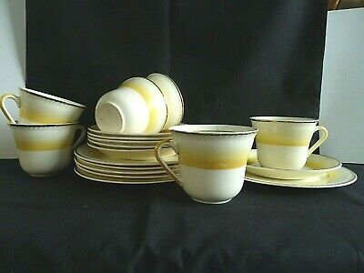 Vintage Portland Teaset Tea Set Yellow Stripe • 14.99£