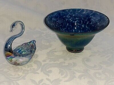 Heron Glass Azure Bowl - 13.5 Cm Diameter - 8 Cm Tall - And Azure Swan - Boxed • 19£