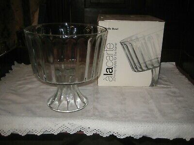 Boxed J C Penney 22 Cm High Ribbed Pedestal Trifle/Fruit Bowl/Dish • 12.99£