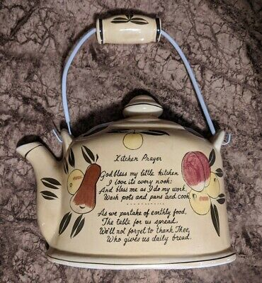 Vintage Norcrest Yellow Tea Pot Kitchen Prayer Wall Pocket Planter • 9.47£