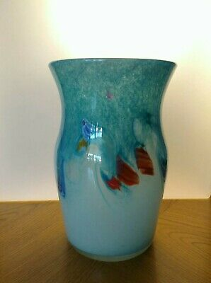 Vintage Strathearn Vase In Beautiful Aqua Green With Multi Coloured Inclusions • 49.99£