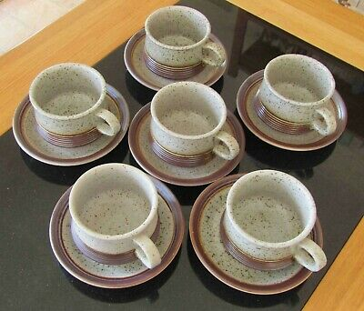 Purbeck Pottery Set Of 6 Cups And Saucers: Portland Design • 25£