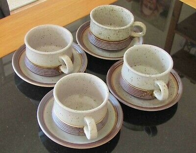 Purbeck Pottery Set Of 4 Cups And Saucers: Portland Design • 17£