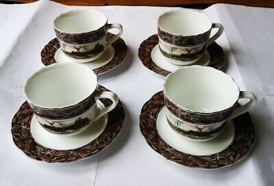Set Of Four Franklin Mint Hunting Lodge Cup And Saucer Ex Display • 20£