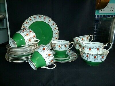 Vintage Windsor Bone China Tea Set Service Pattern 1234 Hand Painted Green • 39.50£