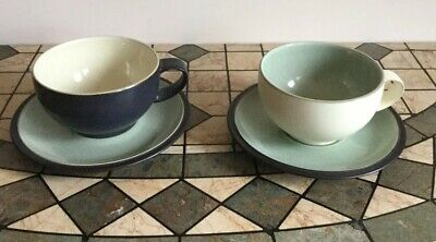 Denby Energy Breakfast Cups And Saucers  2 Cups & 2 Saucers - VGC • 12.50£