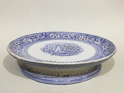 Vintage Blue & White China Comport / Cake Stand • 37.50£