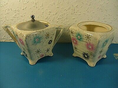 2 Vintage Midwinter Preserve Jars.Hand Painted Chintz Starburst.Square Footed • 12.95£
