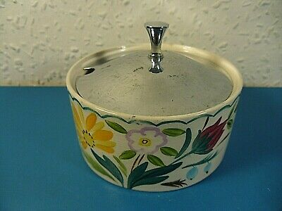 Vintage Midwinter Staffordshire Preserve Jar.Hand Painted Floral Pot.Chrome Lid • 7.95£