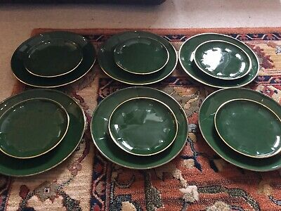 Apilco Green Gold Dinner Plates X 6 And Side Plates X 6  • 40£