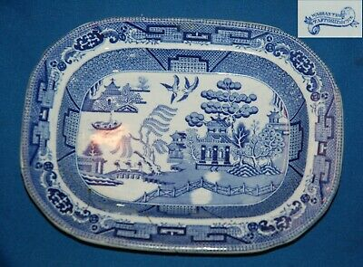 Set Of 4 Antique Blue And White Willow Pattern Plates And Shallow Dishes • 12.96£
