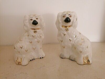 Pair Of Cream Royal Doulton Dogs Mantle Dogs Gold & Black No. 1378-6 • 25£
