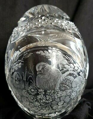 Large Cut Lead Crystal Glass Easter Egg Paperweight  Signed 15cm • 45£