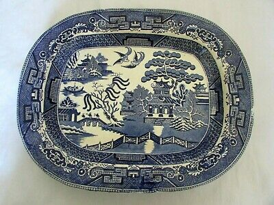 Antique / Vintage / Very Old Blue & White Ironstone Willow Pattern Meat Plate • 9.99£