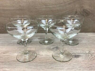 5 X Vintage Hexagonal Stem Champagne Saucers / Coupes / Glasses • 13.99£