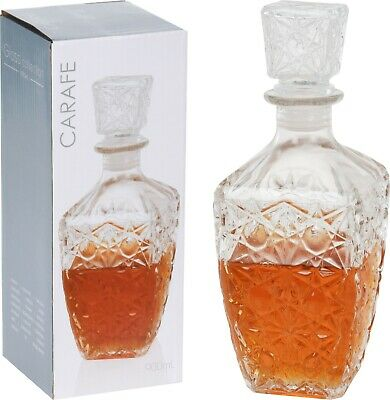 Glass Decanter Whiskey Sherry Brandy Liqueur Decanter Tapered Wine Decanter • 6.29£