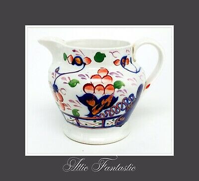 Gaudy Welsh Antique Bulbous Gaudy Jug 19th Century British Pottery C.1840 In VGC • 15£