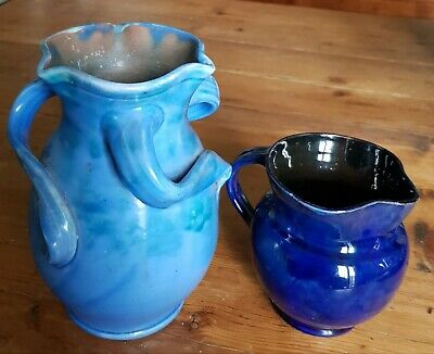 Baron Of Barnstaple Three Handled Blue Vase And Small Jug.  • 37.75£