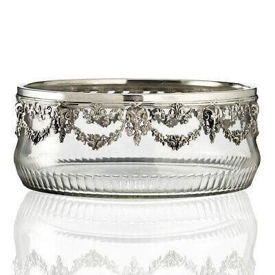 C.1900 Crystal Bowl With Plated Ram's Head Mount • 475£