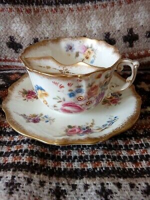 Antique Hammersley Dresden Sprays Moustache Cup And Saucer. Presentation  Piece • 24.99£
