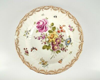 Antique 19th Century KPM Berlin Flowers And Insects Porcelain Plate. • 25£