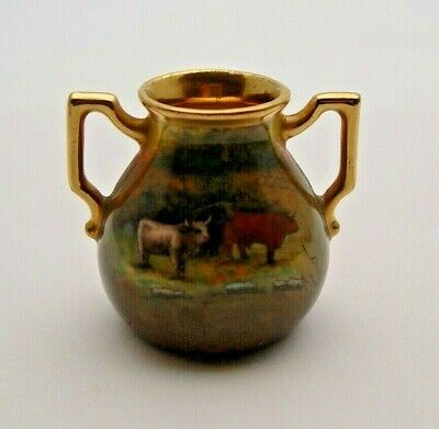 Miniature Continental Gilded Twin Handled Vase With Highland Cattle - Perfect • 9.99£