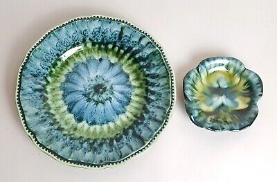 Vintage Portmadoc Pottery Blue Green Plate & Pin Dish Welsh Wales Signed Joan • 19.99£