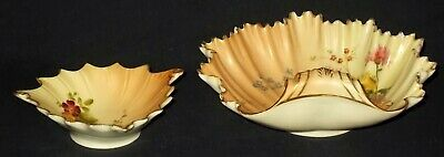 TWO Royal Worcester BLUSH IVORY FLORAL Shell Dishes 1344 & 1413 • 12£