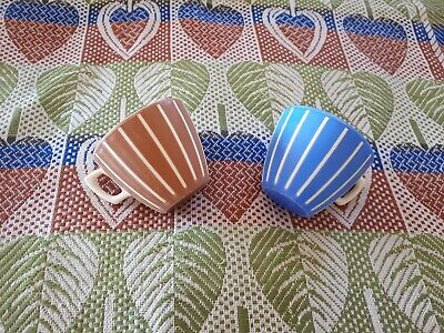 Vintage 1950's Lucite Set Of 2 White Brown Blue Tea Cup Welware Melamine Camping • 9.50£