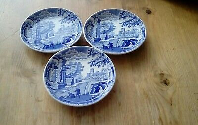 Spode Blue Italian 3 X Pin / Olive Dishes • 2.99£