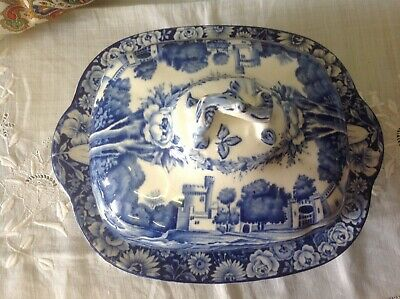 Blue & White Tureen Dish With Lid Wood & Sons Castles  • 10£