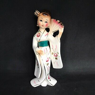 Ceramic Geisha Japanese Girl Woman Present From Filey Vintage Hand Painted • 10£