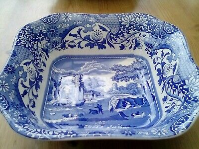 Spode Italian Blue And White Square Serving Bowl • 14.50£